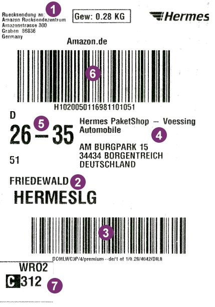 Hermes Etiketten Original Versandetiketten 5