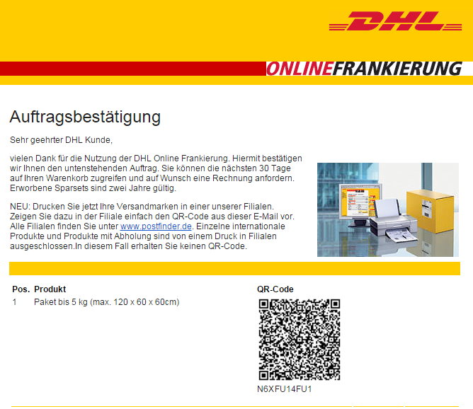 dhl paketmarken mittels qr code in filiale druckbar. Black Bedroom Furniture Sets. Home Design Ideas