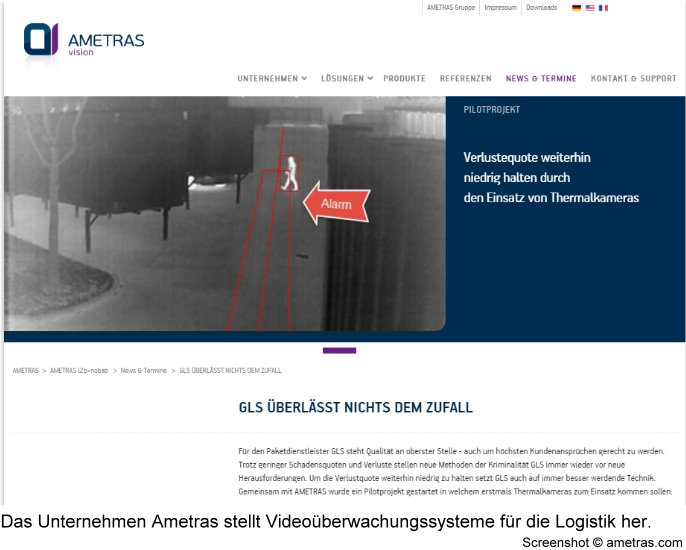 Screenshot der Ametras-Website