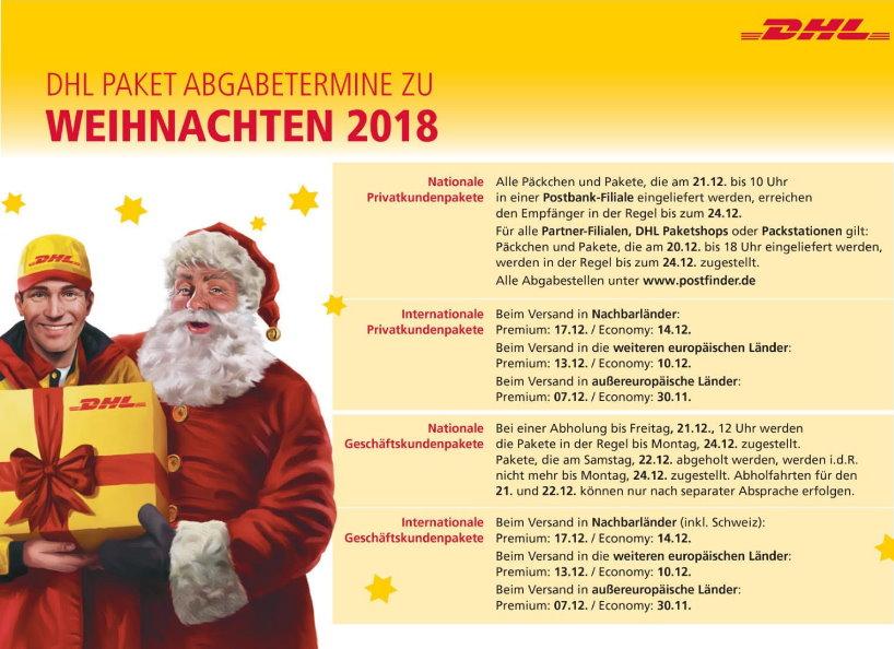 Fristen für den Versand von Weihnachtspaketen 2018