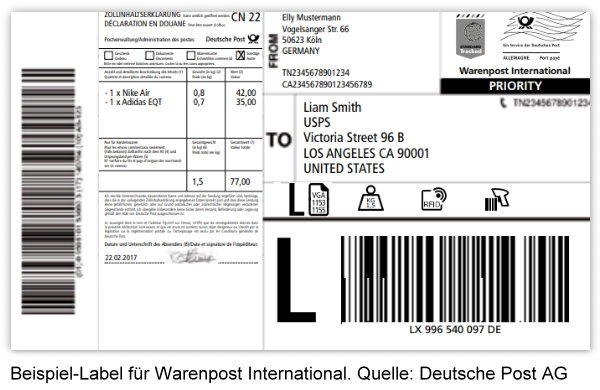 Label einer Warenpost International